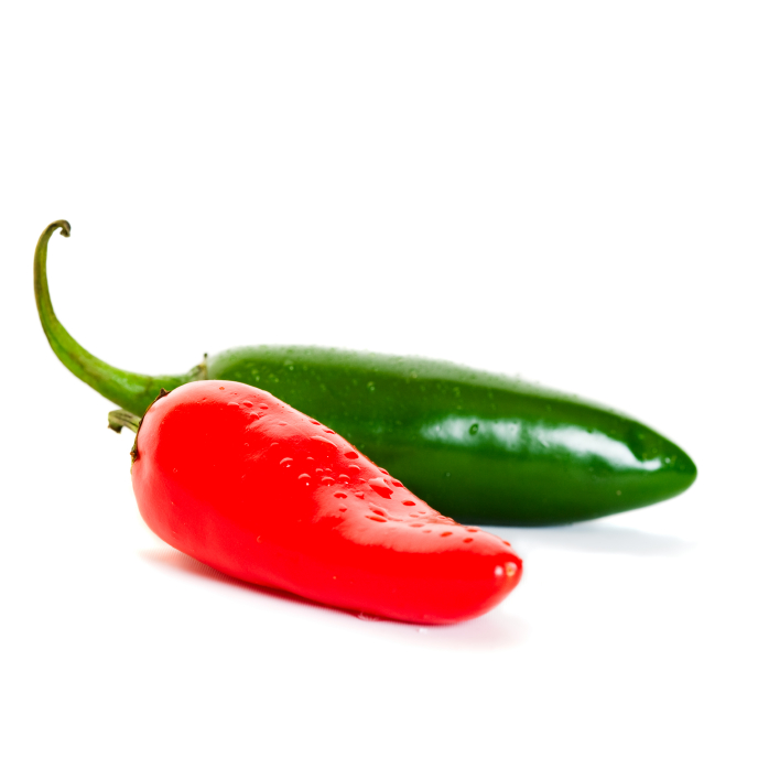 red & green jalapeno peppers