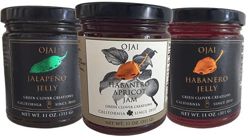 Ojai Jalapeno Jelly, Habanero Jelly, and Apricot Jam