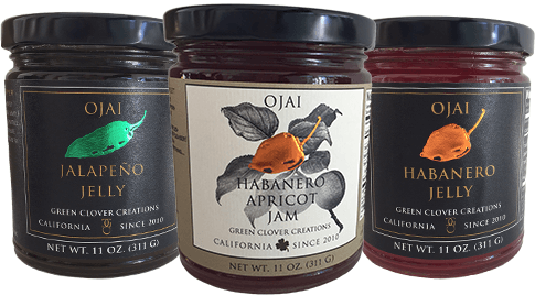 Ojai Jalapeno Jelly, Habanero Jelly, and Apricot Jam