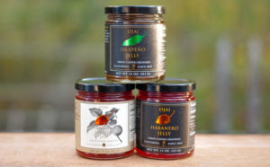 Ojai Jalapeno Jelly, Apricot Habanero Jam, and Habanero Jelly stacked on a table outdoors